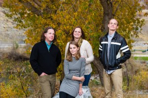 Family portraits with autumn leaves