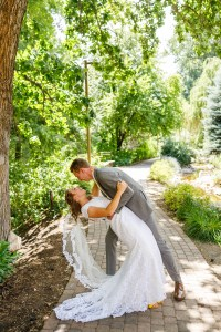 Groom dips the bride for a portrait