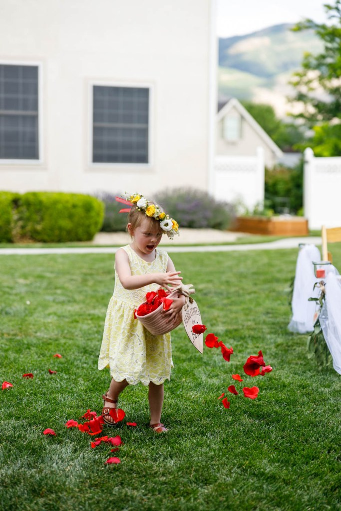 Flower girl dumps the flowers