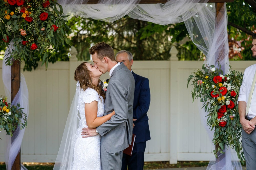 The first kiss as man and wife