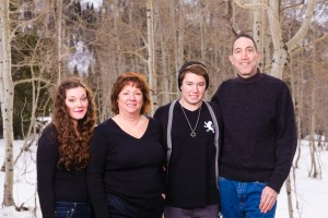 Family portraits in winter with aspens