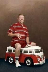 Adult Joe on a VW bus