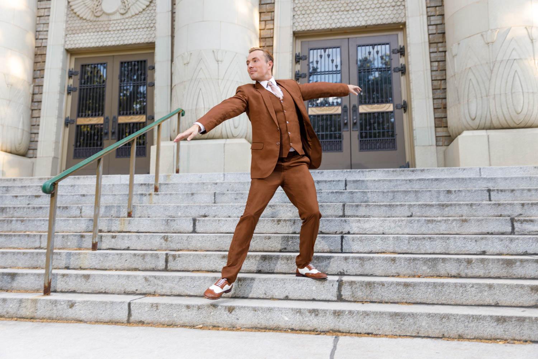 Dancing on the steps like LA LA Land