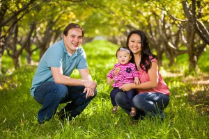 Family portraits in an orchard
