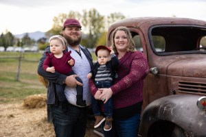 Family Portraits with an antique truck