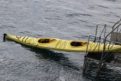 Whoops, one kayak fell off the zodiac!