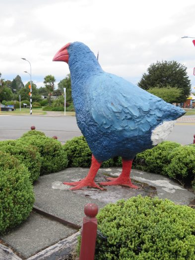 Takahe statue near the waterfront.