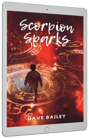Scorpion Sparks Tablet Cover of Boy walking over glowing runes
