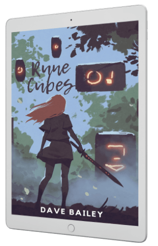 Tablet with Rune Cubes Cover - A Girl With A Sword Standing In Front Of Cubes Rising From The Ground With Glowing Runes