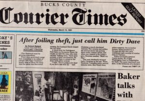 Dirty Dave - Foiling Robbery attempt 3.13.91 Bucks Courier times