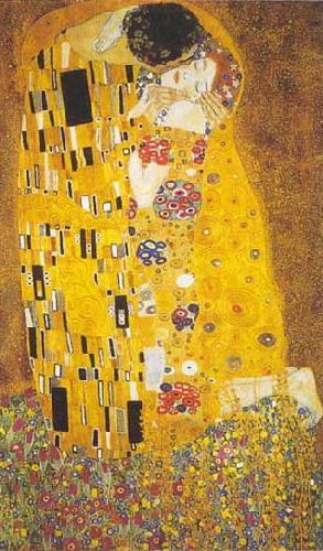 [Brassy, rectangular repro of The Kiss by Klimt]