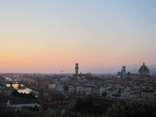Sunset over Florence, as seen from Piazzale Michelangelo