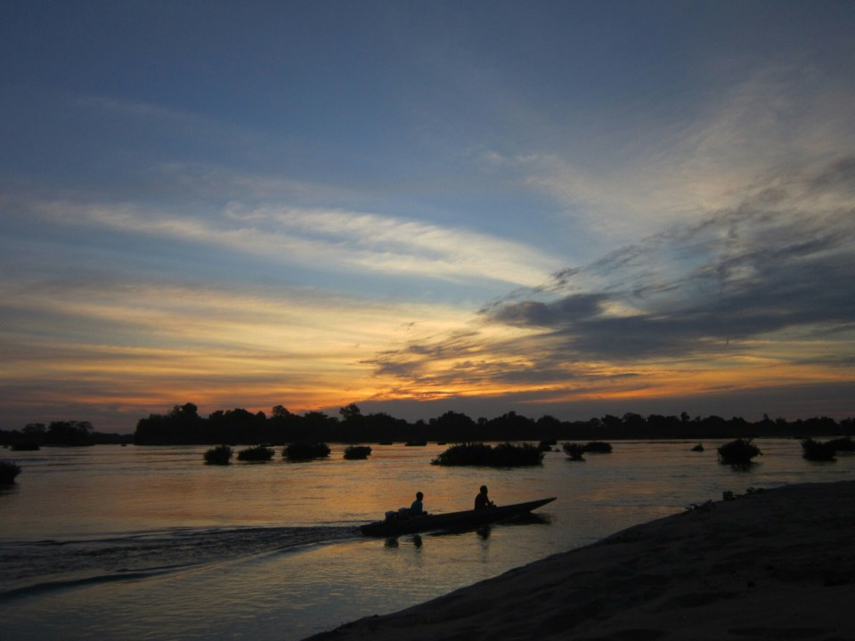 Sunset in the 4000 island in Laos