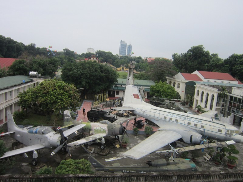View of Vietnam war equipment and planes in Hanoi