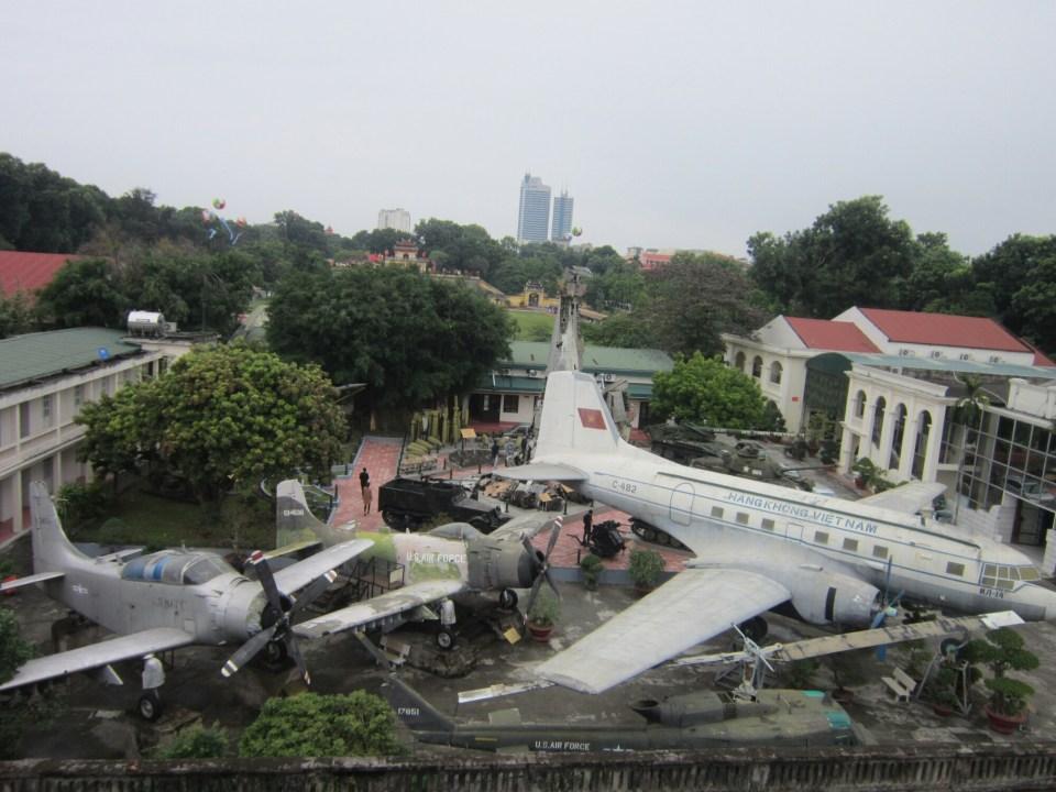 View of Vietnam war equipment and planes in Hanoi