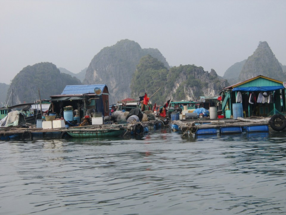 Dwellings on the waters of Lan Ha Bay, Vietnam