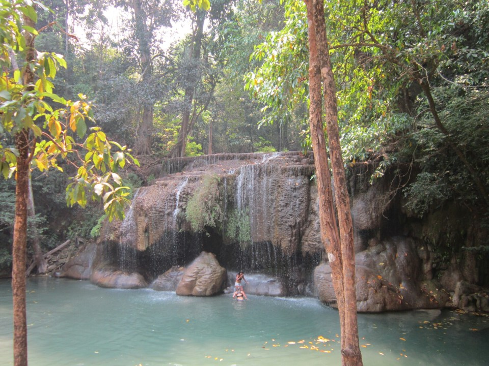 View of a pool at Erawan Waterfalls, Thailand