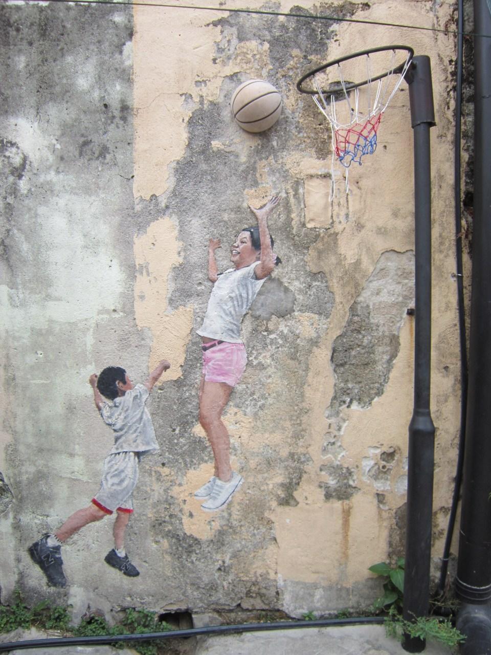 Penang Street Art Children playing Basketball