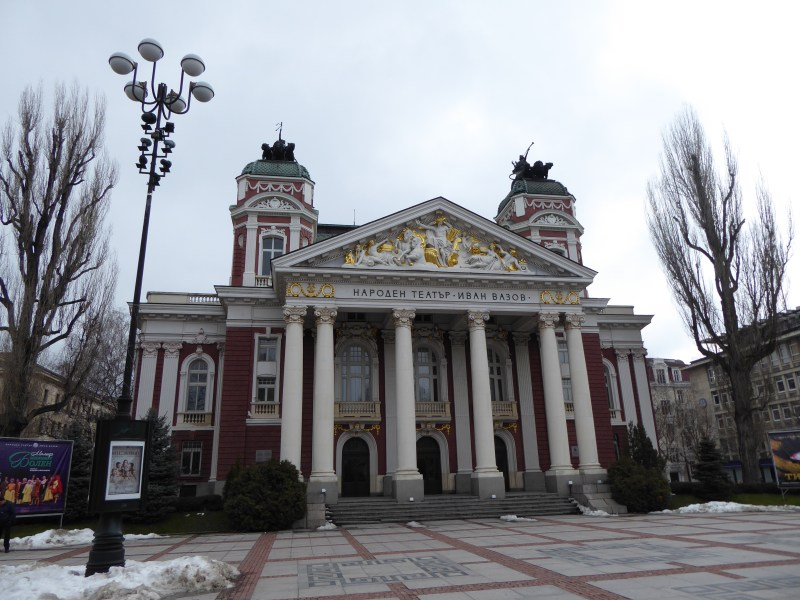 The front of Ivan Vazov National Theatre in Sofia