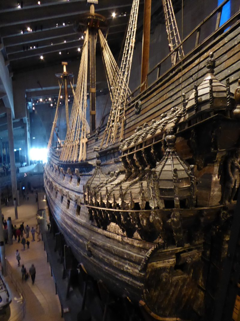 View of the Vasa warship in the Vasa museum in Stockholm