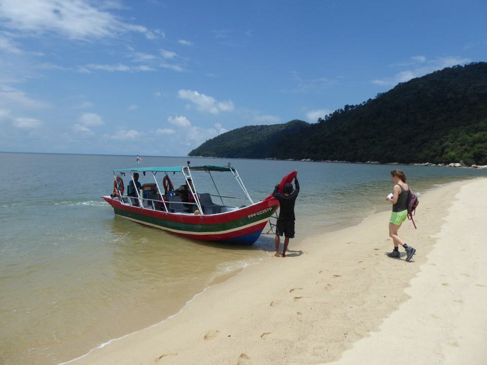 Boat picking up from Keracut beach, Penang