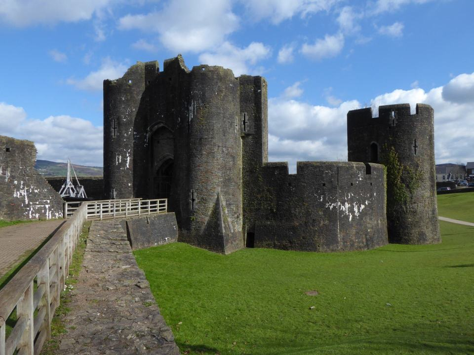 The heavily fortified Southern Gatehouse at Caerphilly Castle.