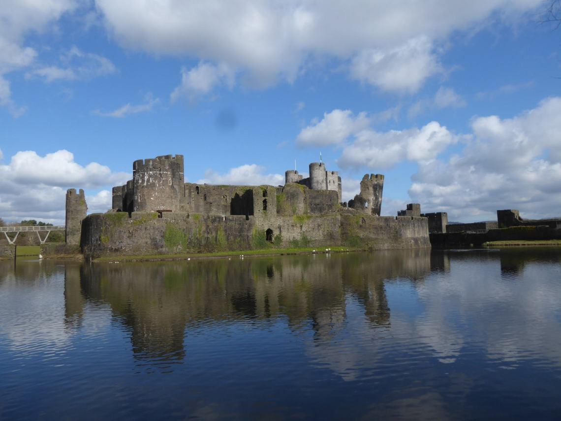 Caerphilly Castle across the water