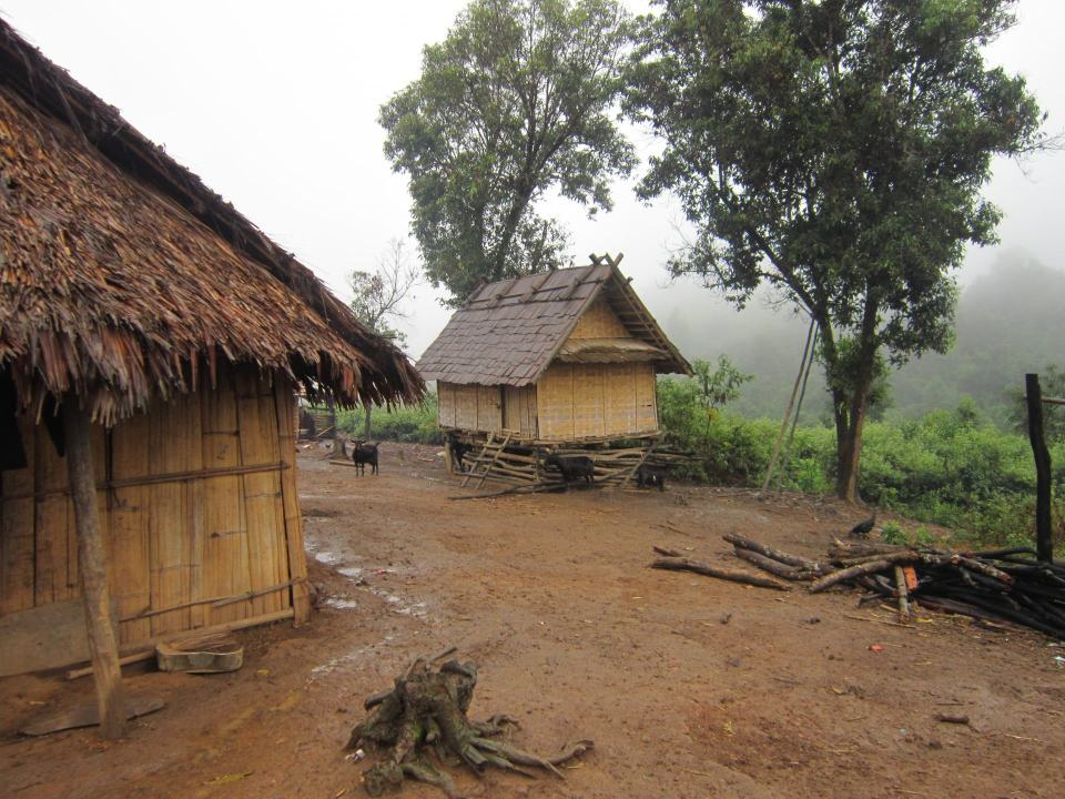 A mountain village in Northern Laos, reached by trekking from Muang Ngoi