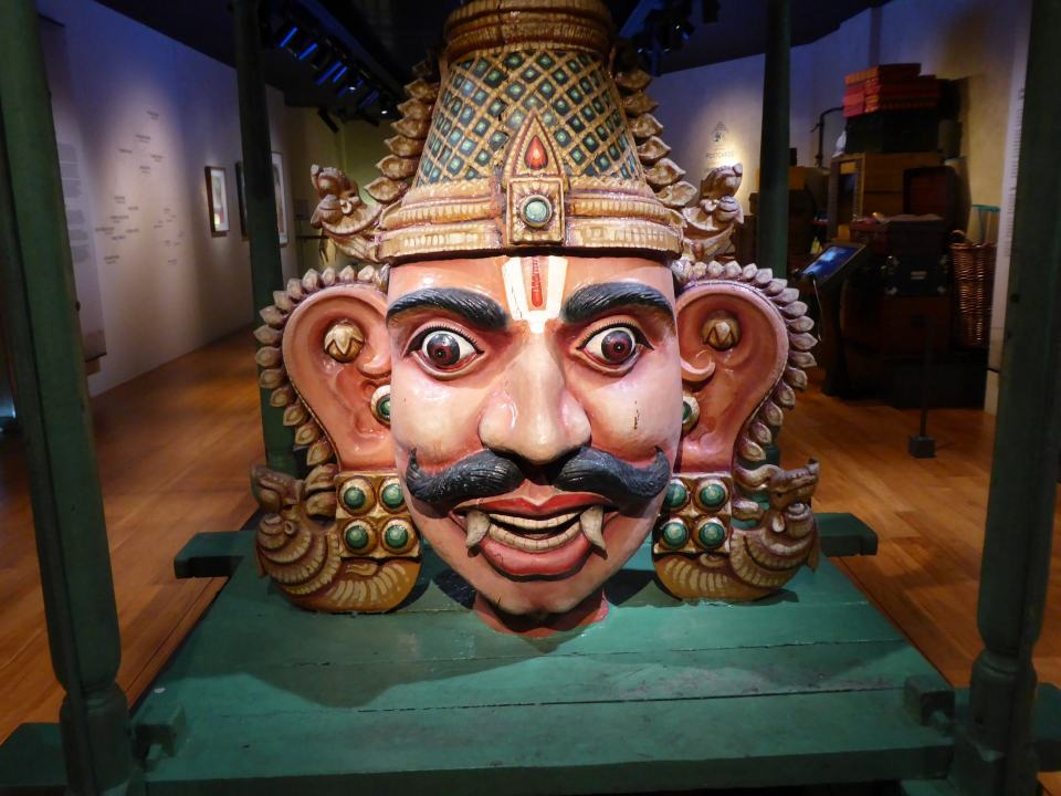 The Hindu diety Aravan. Dating from the early 20th Century. On display at the Indian Heritage centre in Little India, Singapore.