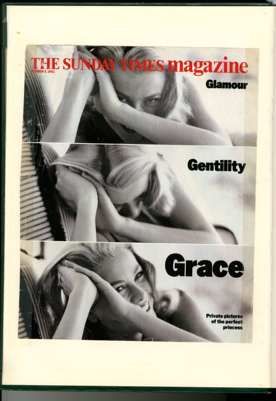 Dave Dye:Sunday Times Cover: Grace Kelly