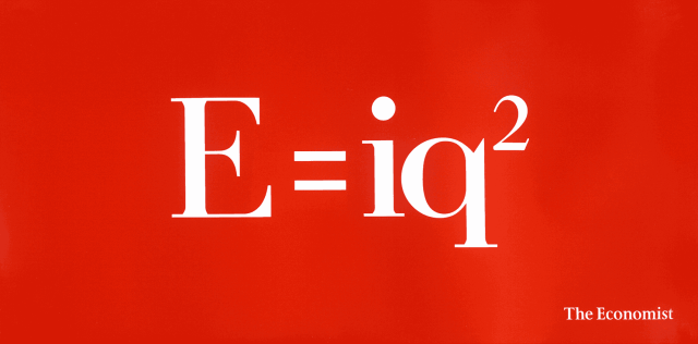 'E=iq2' The Economist, Dave Dye, 48 sheet, AMV/BBDO