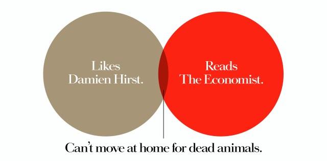 'Likes Damien' The Economist, Dave Dye, Venn, 48 sheet, AMV-BBDO