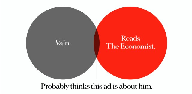 'Vain' The Economist, Dave Dye, Venn, 48 sheet, AMV-BBDO