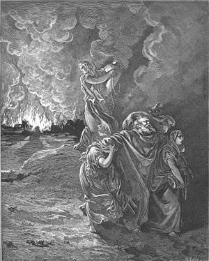 Lot Flees as Sodom and Gomorrah Burn