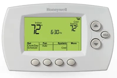 The Button-Based Monochrome Honeywell WiFi Thermostat.