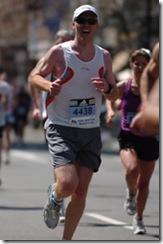 Dave Fleet running the 2008 Boston Marathon