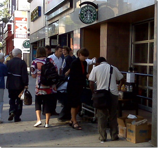 Starbucks near Yonge & St. Clair at 8:30am on August 11, 2008