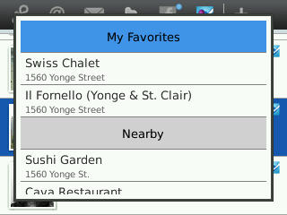 Foursquare location list on SocialScope