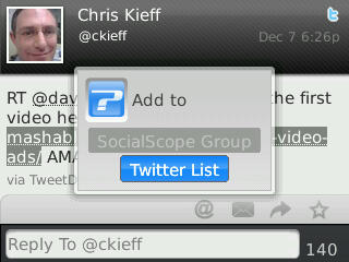 Adding to a Twitter List in SocialScope