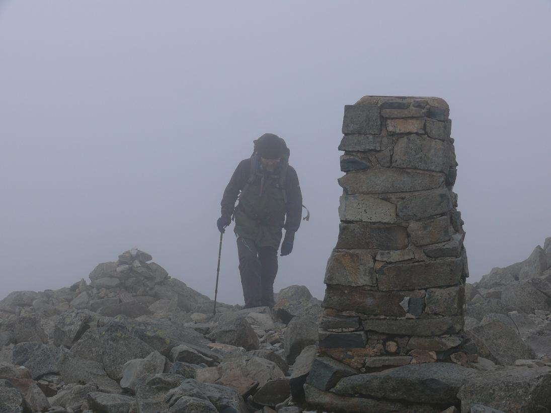 Dave approaching Scafell Pike trig