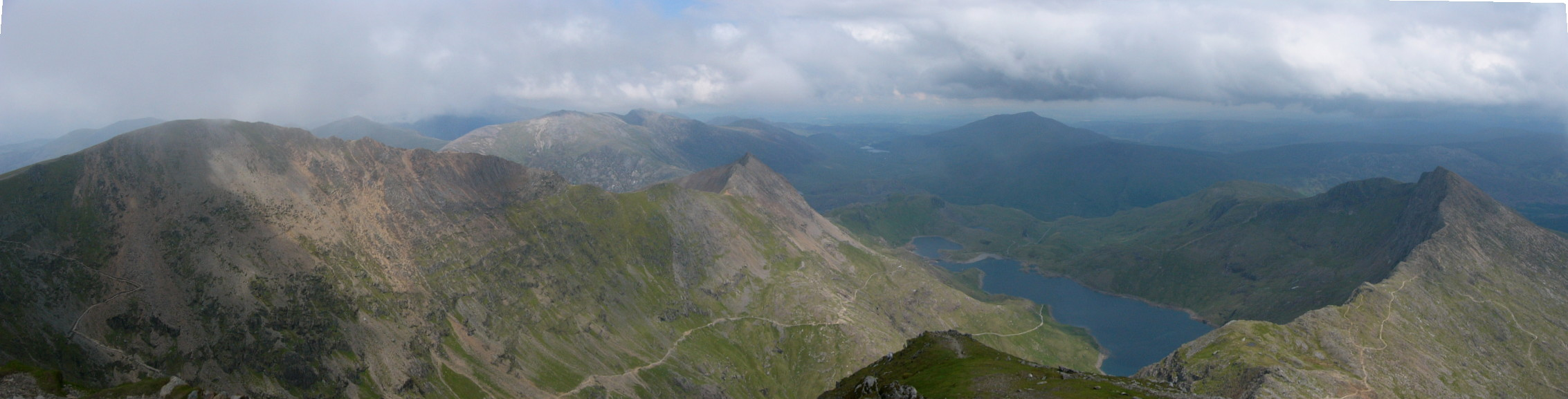 Crib Goch,Garnedd Ugain and Y Lliwedd from Snowdon summit