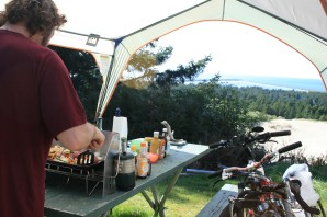 Dave tests out his new cook stove. What a view!