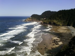 Heceta Head Lighthouse and the Keeper's House and in the foreground is the secret beach...and we know where the secret trail is (no public access) :)