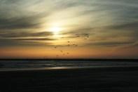A perfect beach sunset scene.