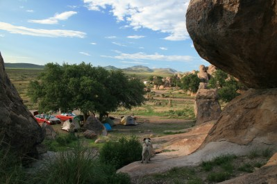 Looking down over our campsite.