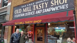 Dave and Greg, friends for 35+ years, at the Old Mill Tasty Shop.