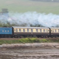 "LNER class A4 Pacific, 4464 ""Bittern"" streaks along the Teign Estuary, Devon; 07-09-14"