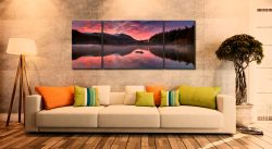 Thirlmere Autumn Sunrise - 3 Panel Wide Mid Canvas on Wall