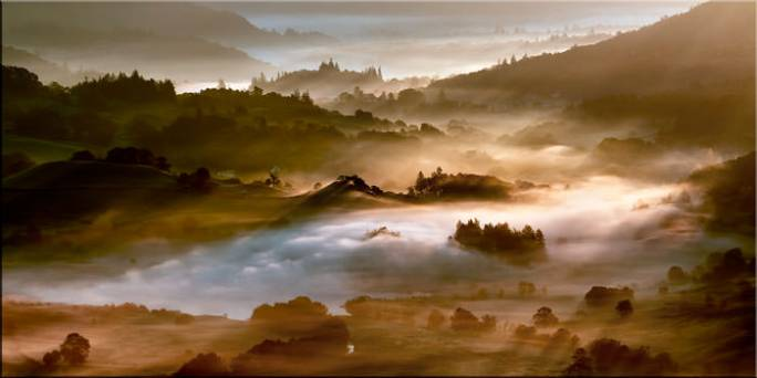Morning Mists Over Little Langdale - Canvas Print