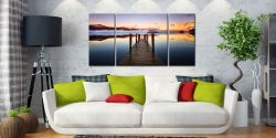 Ashness Jetty Dawn - 3 Panel Wide Centre Canvas on Wall